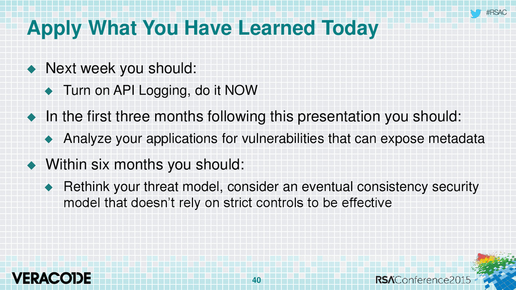 #RSAC Apply What You Have Learned Today  Next ...