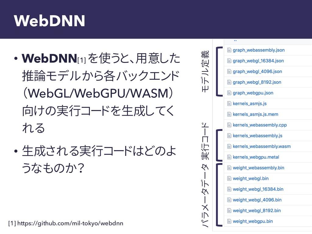 WebDNN • WebDNN[1] を使うと、用意した 推論モデルから各バックエンド (We...
