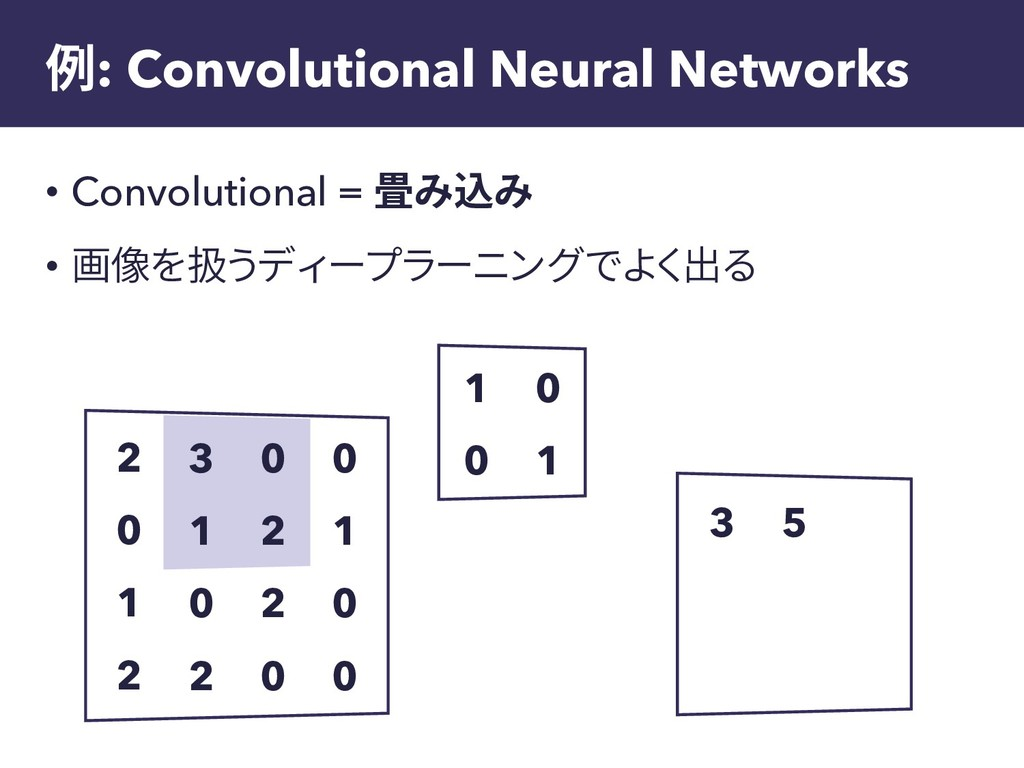 例: Convolutional Neural Networks • Convolutiona...