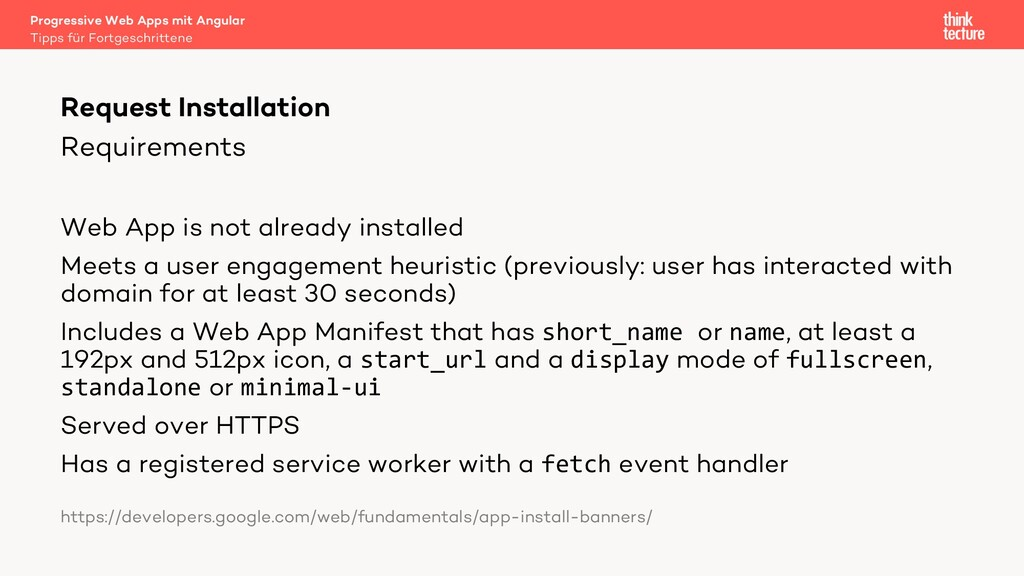 Requirements Web App is not already installed M...