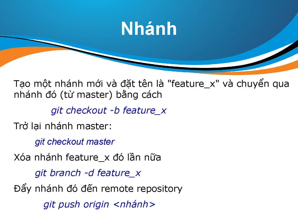 """Nhánh Tạo một nhánh mới và đặt tên là """"feature_..."""