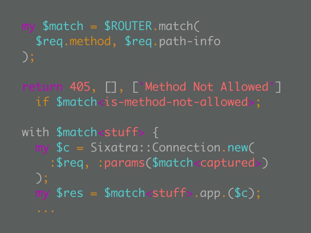 my $match = $ROUTER.match( $req.method, $req.pa...