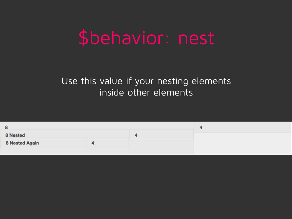 $behavior: nest Use this value if your nesting ...