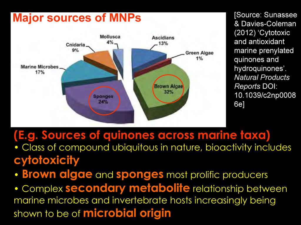 (E.g. Sources of quinones across marine taxa) •...