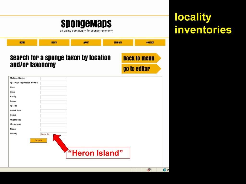 "locality inventories ""Heron Island"""