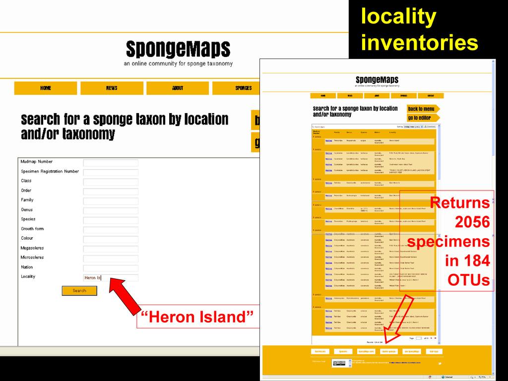 "locality inventories ""Heron Island"" Returns 205..."
