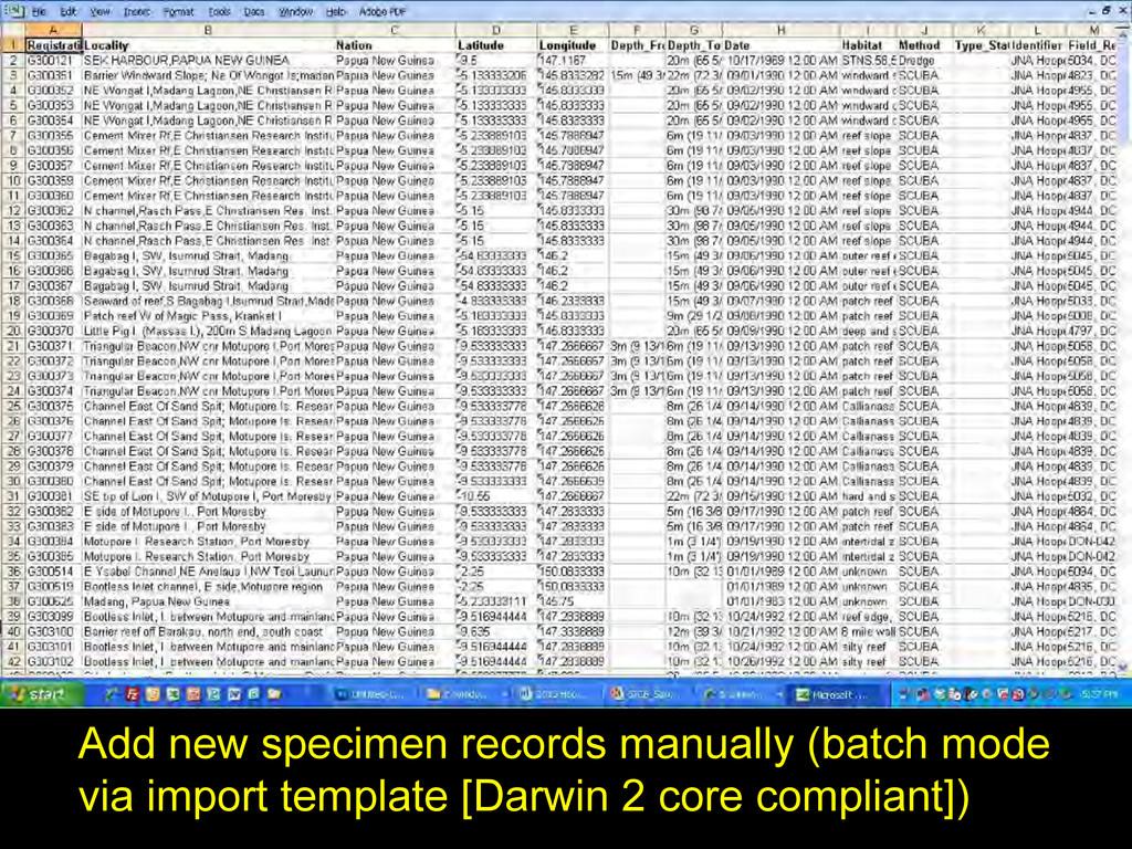 Add new specimen records manually (batch mode v...