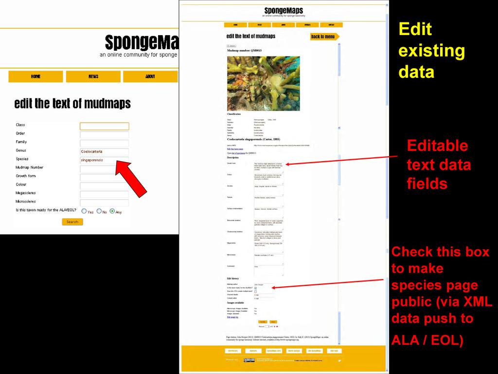 Edit existing data Editable text data fields Ch...