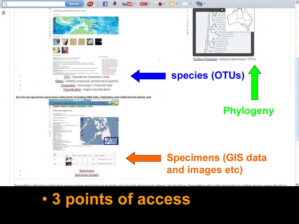 • 3 points of access species (OTUs) Phylogeny S...