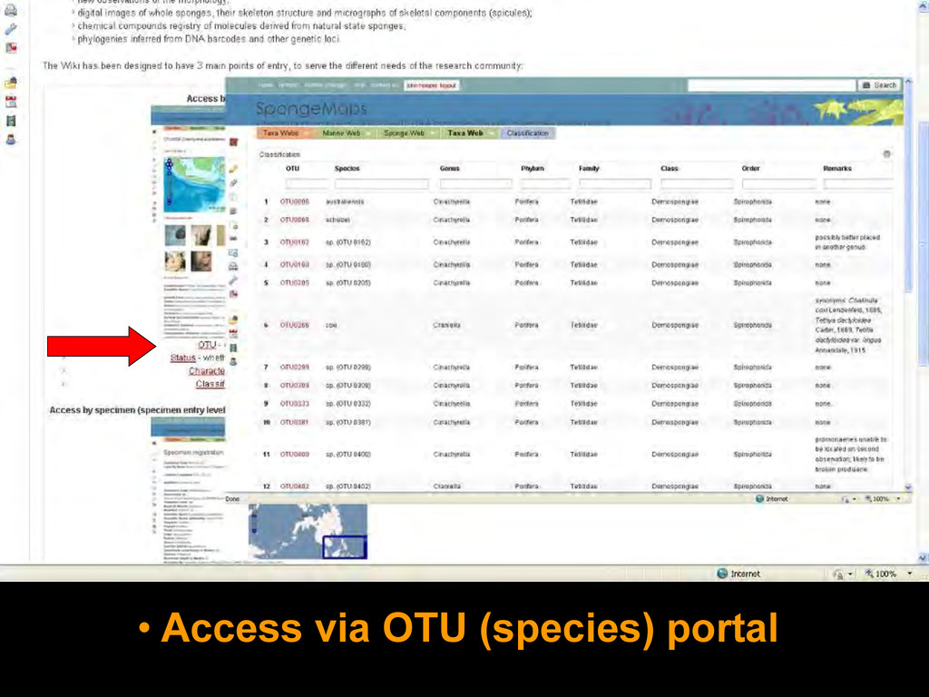 • Access via OTU (species) portal