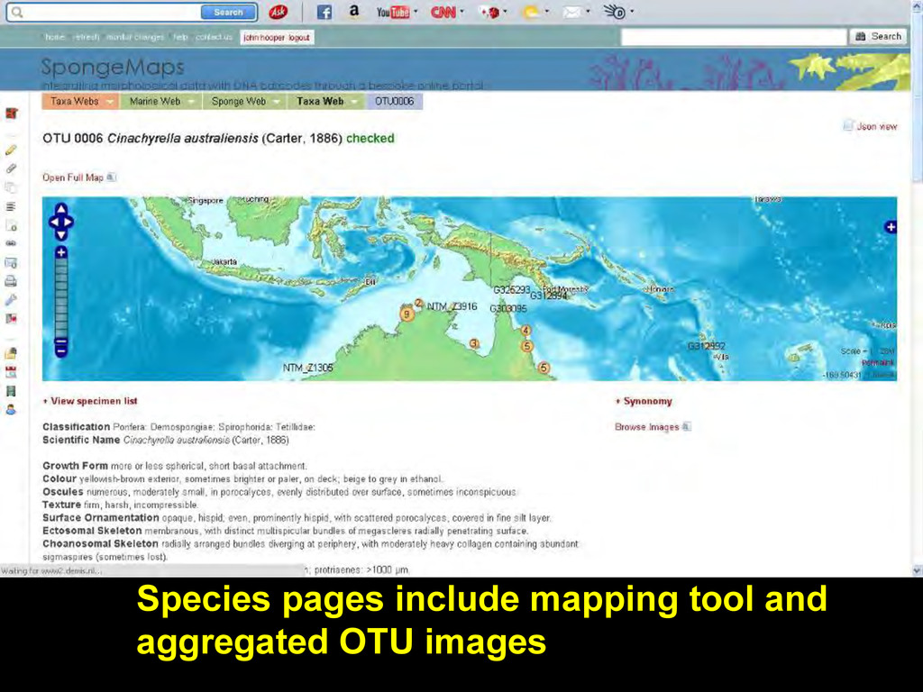 Species pages include mapping tool and aggregat...