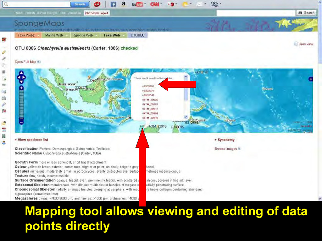 Mapping tool allows viewing and editing of data...