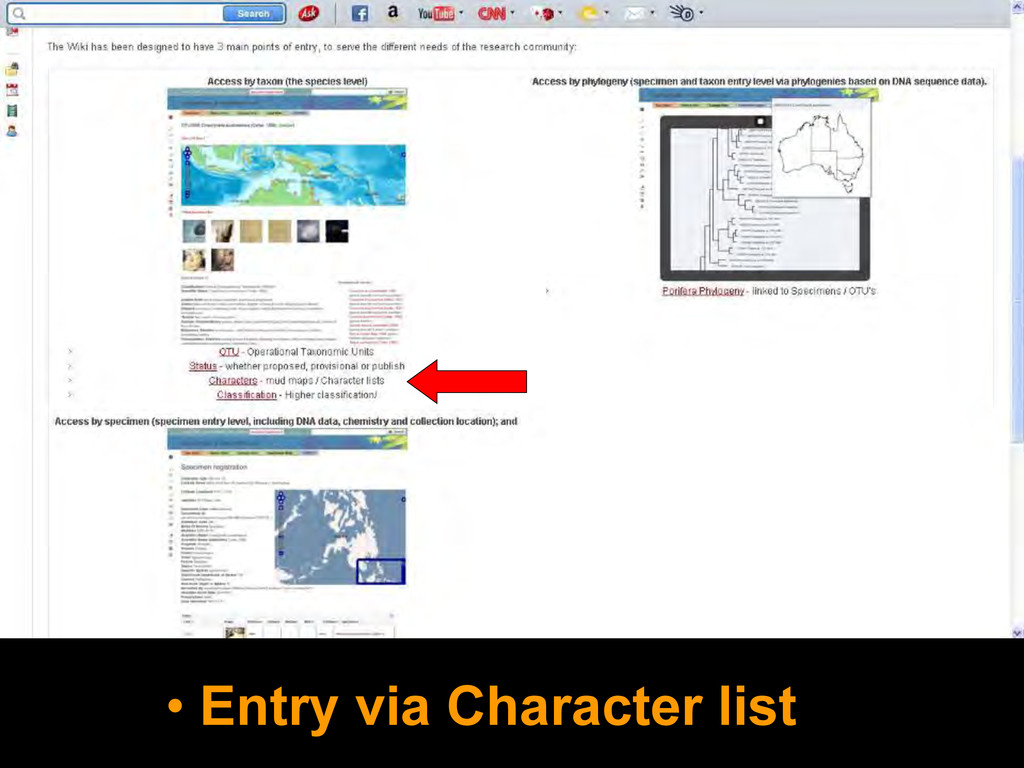 • Entry via Character list