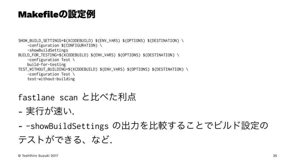 Makefileͷઃఆྫ SHOW_BUILD_SETTINGS=$(XCODEBUILD) $...