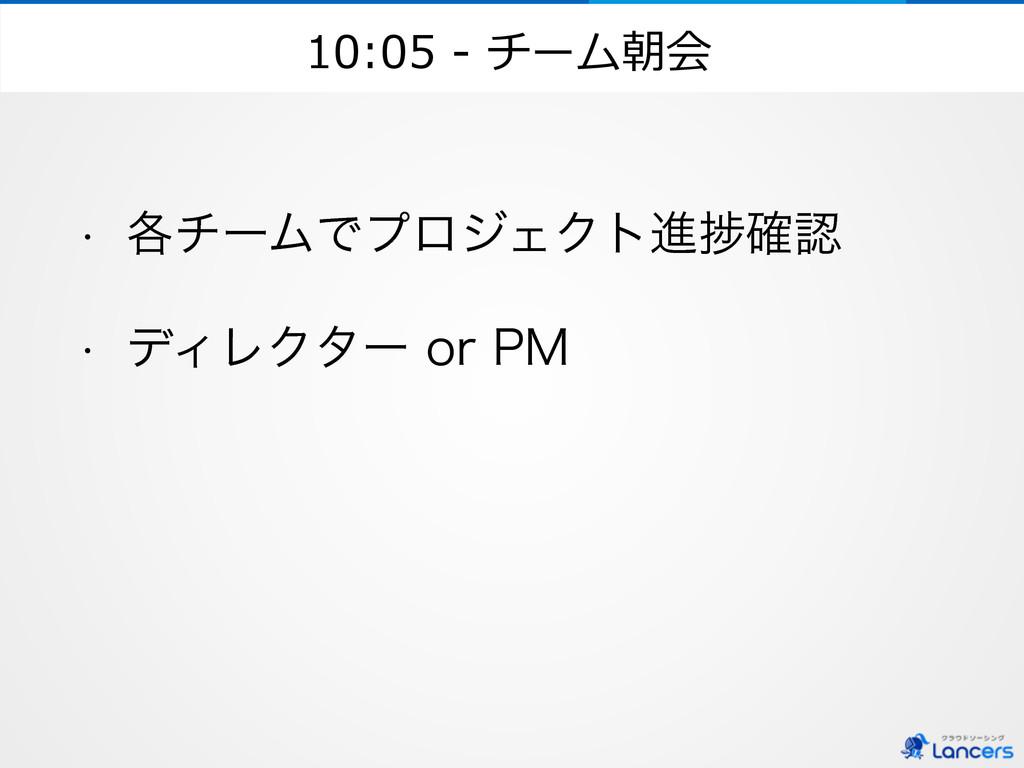 10:05 -‐‑‒ チーム朝会 w ֤νʔϜͰϓϩδΣΫτਐḿ֬ w σΟϨΫλʔ...