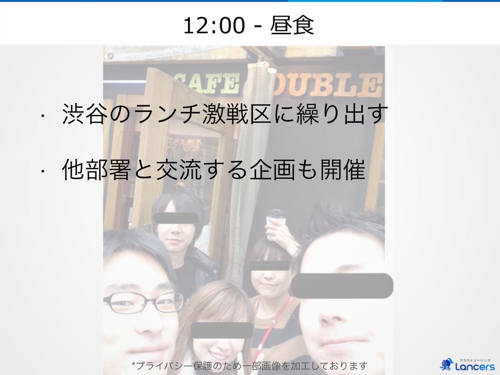 12:00 -‐‑‒ 昼⾷食 w ौ୩ͷϥϯνܹઓ۠ʹ܁Γग़͢ w ଞ෦ॺͱަྲྀ͢Δاը...