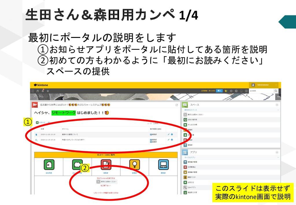 最初にポータルの説明をします ①お知らせアプリをポータルに貼付してある箇所を説明 ②初めての方...