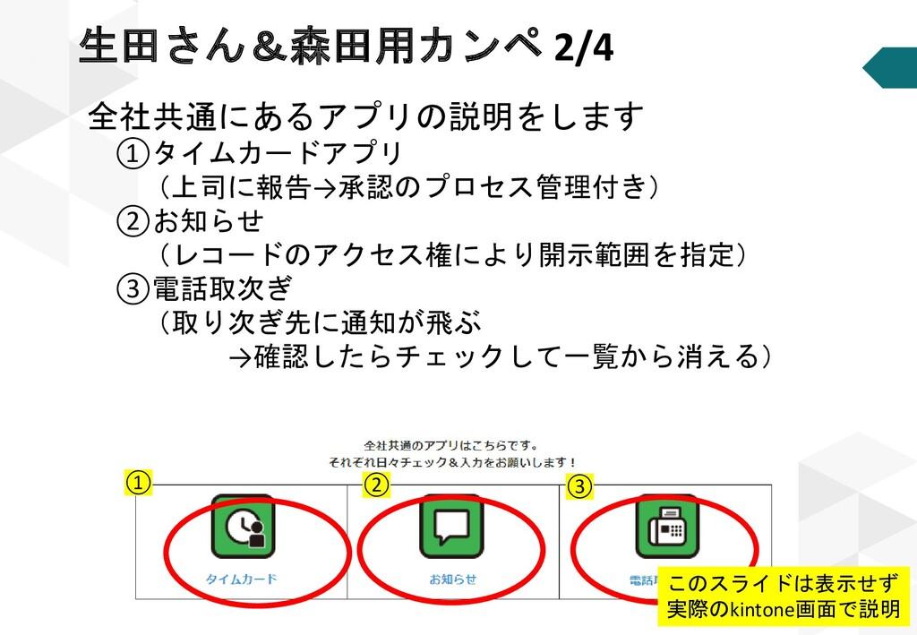全社共通にあるアプリの説明をします ①タイムカードアプリ (上司に報告→承認のプロセス管理付き...