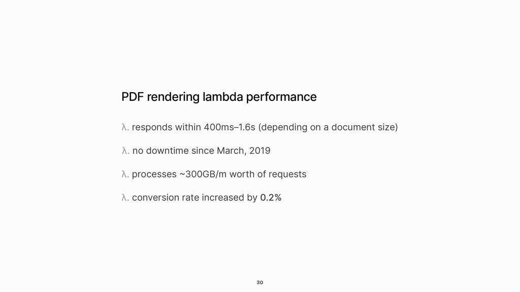 30 PDF rendering lambda performance λ. responds...