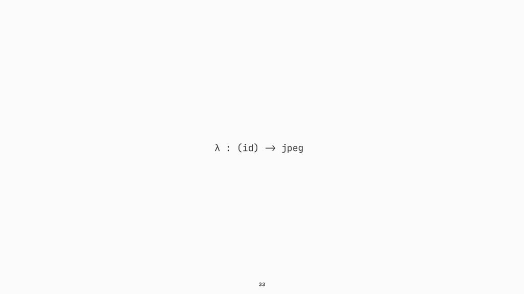 """33 λ : (id) """"-> jpeg"""