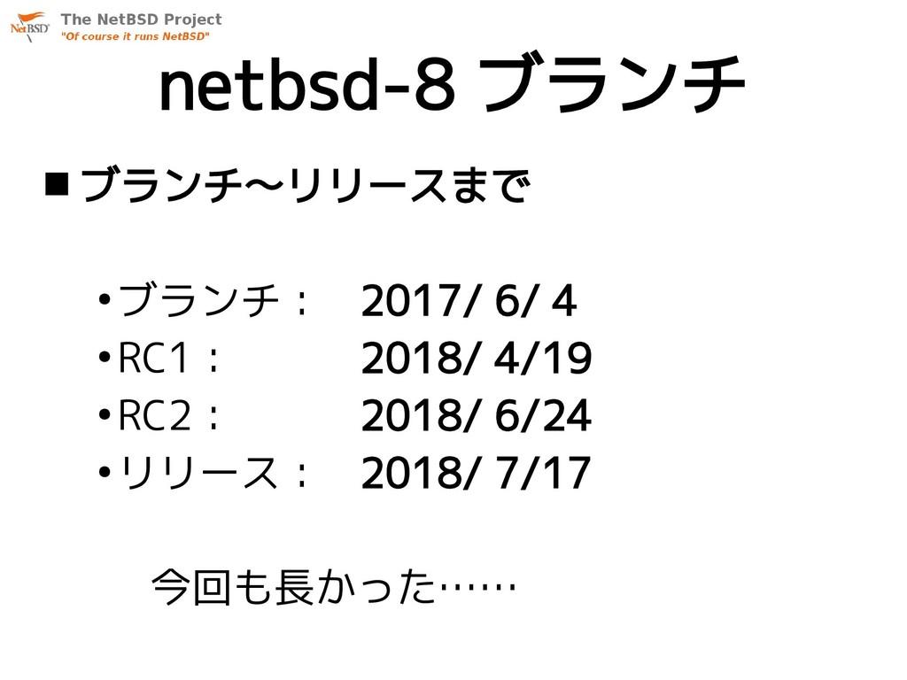 netbsd-8 ブランチ  ブランチ〜リリースまで ● ブランチ: 2017/ 6/ 4 ...