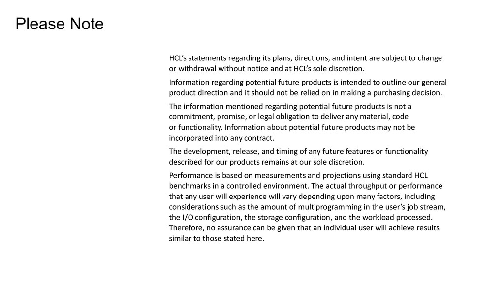HCL's statements regarding its plans, direction...