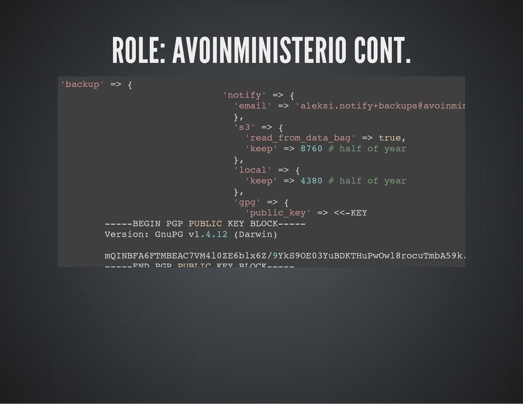 ROLE: AVOINMINISTERIO CONT. ' b a c k u p ' = >...