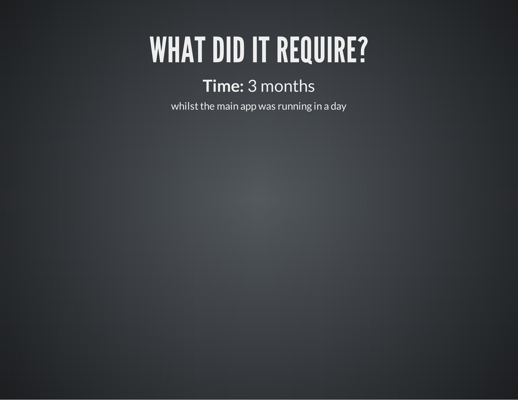 WHAT DID IT REQUIRE? Time: 3 months whilst the ...