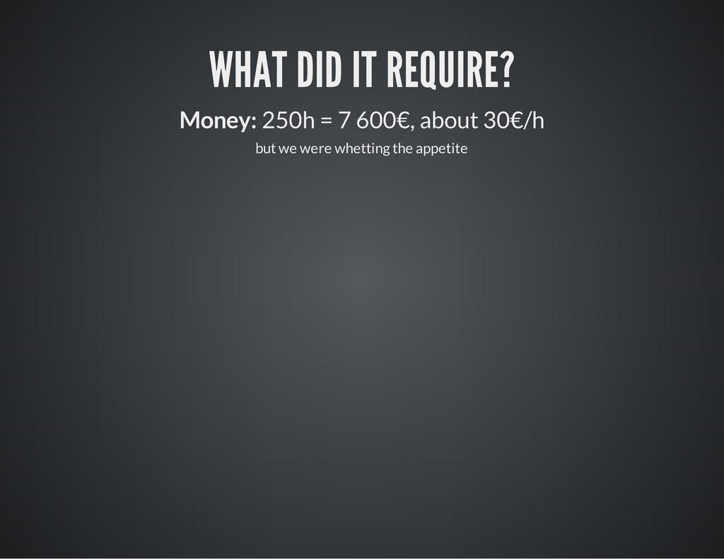 WHAT DID IT REQUIRE? Money: 250h = 7 600€, abou...