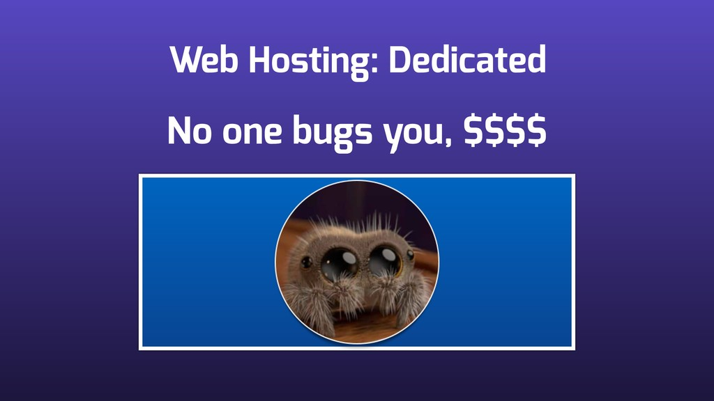 Web Hosting: Dedicated No one bugs you, $$$$