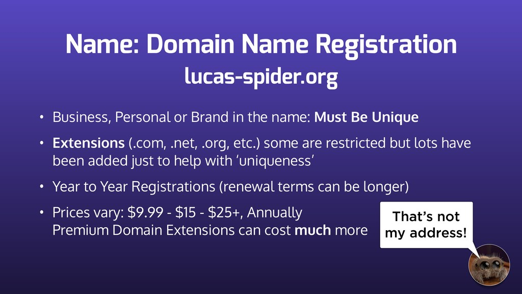 Name: Domain Name Registration • Business, Pers...
