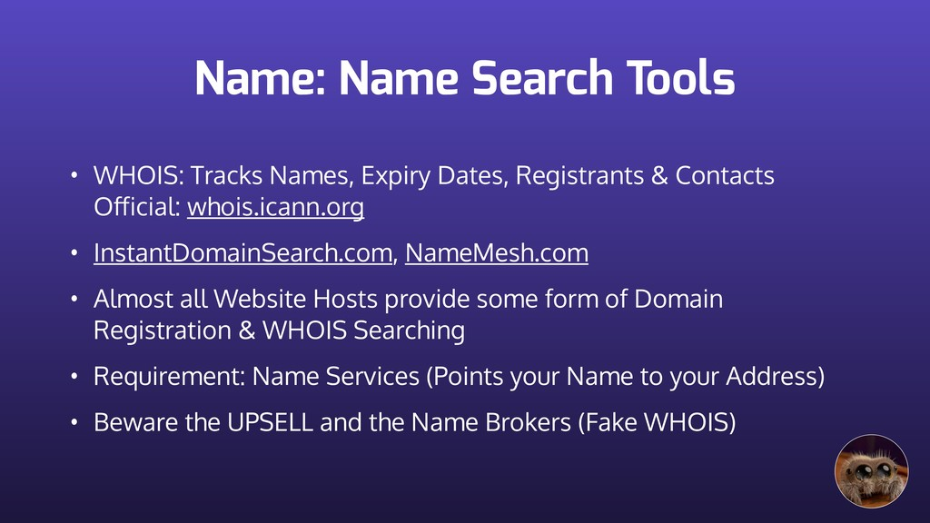 Name: Name Search Tools • WHOIS: Tracks Names, ...