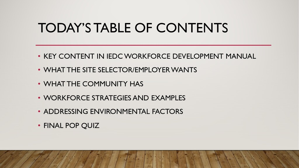 TODAY'S TABLE OF CONTENTS • KEY CONTENT IN IEDC...