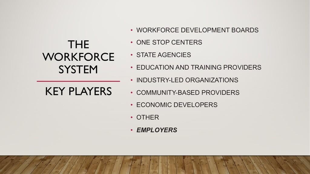 THE WORKFORCE SYSTEM • WORKFORCE DEVELOPMENT BO...