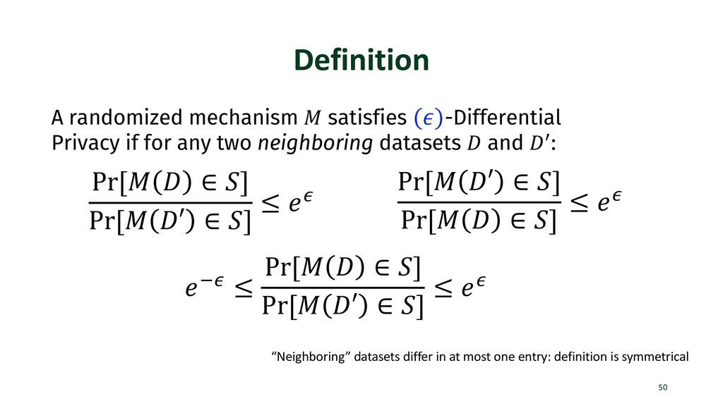 Definition 50 A randomized mechanism ! satisfie...