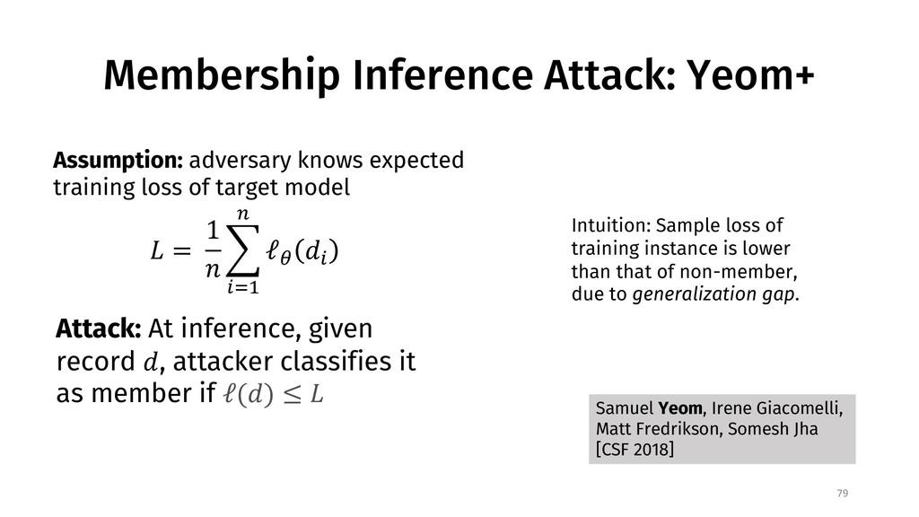 Membership Inference Attack: Yeom+ 79 Samuel Ye...
