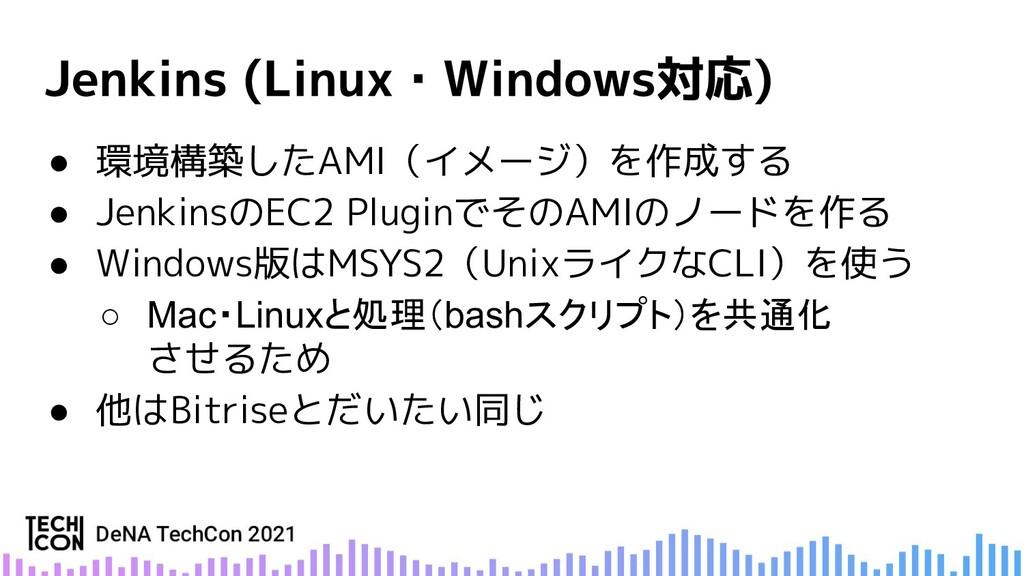 ● 環境構築したAMI(イメージ)を作成する ● JenkinsのEC2 PluginでそのA...