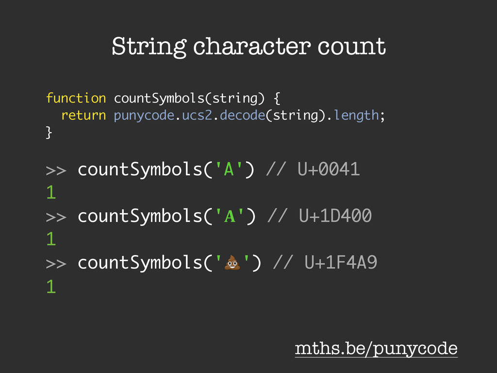 String character count function countSymbols(st...