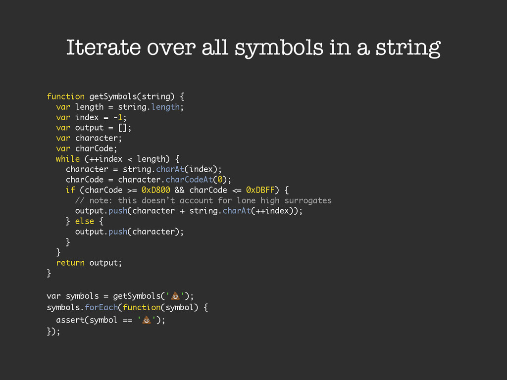 Iterate over all symbols in a string function g...