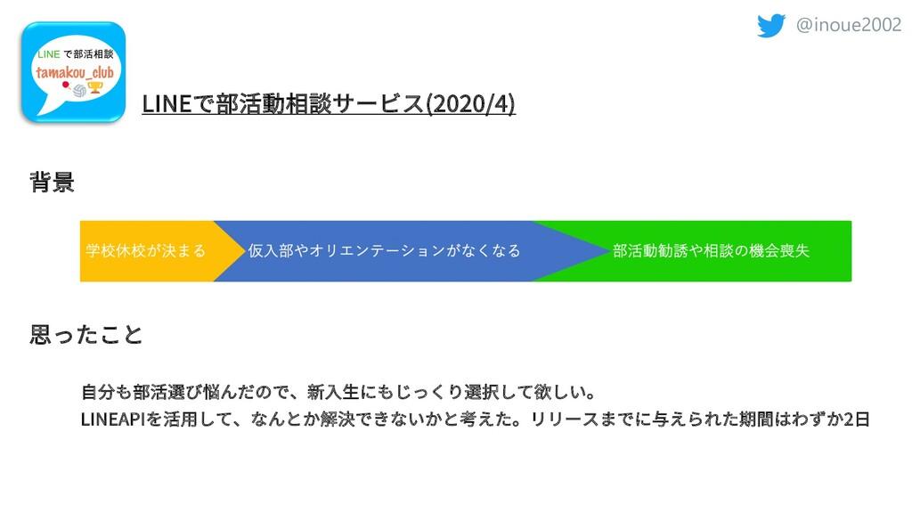 @inoue2002 LINEで部活動相談サービス(2020/4) 背景 思ったこと LINE...