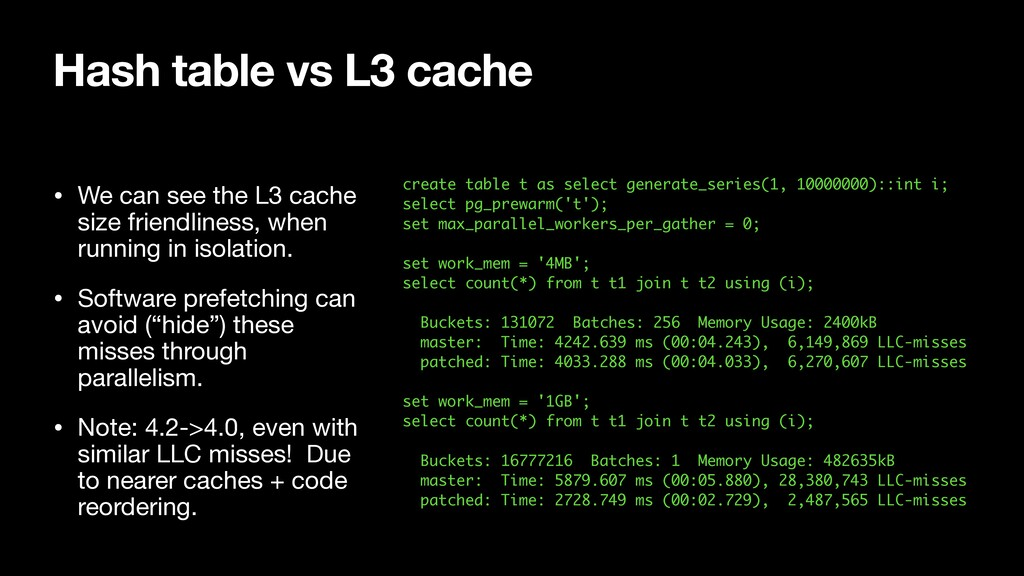 Hash table vs L3 cache create table t as select...