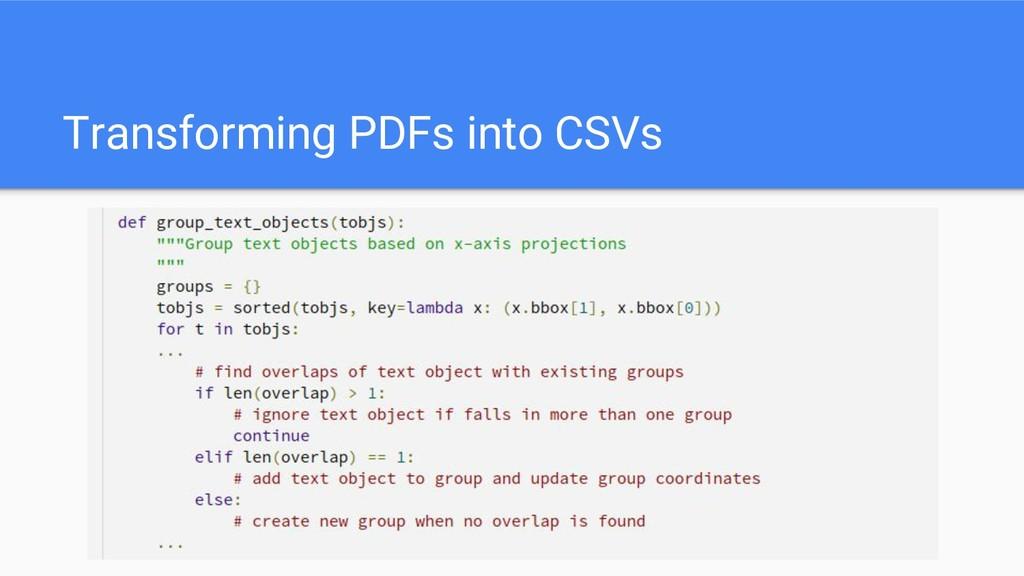 Transforming PDFs into CSVs