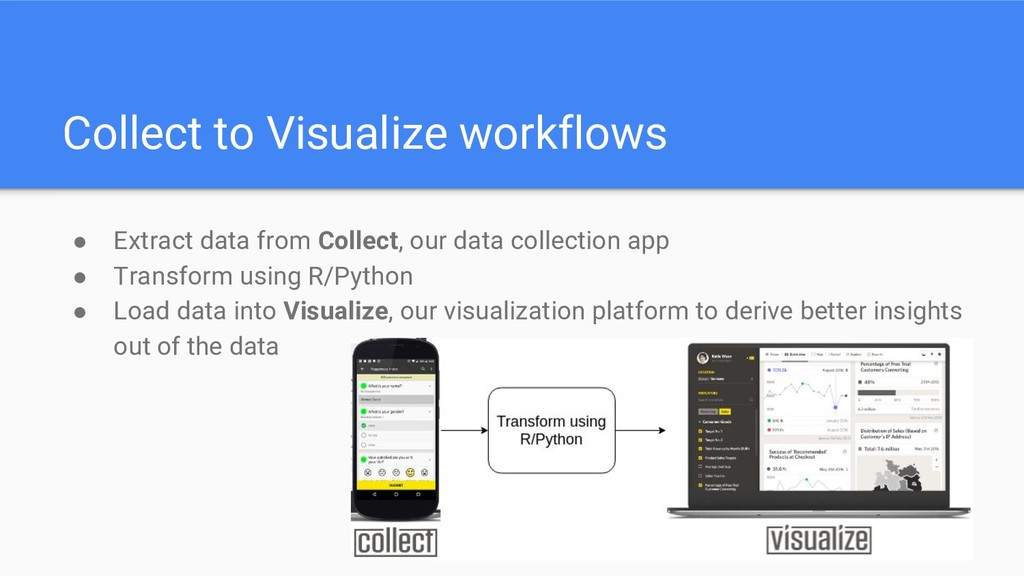 Collect to Visualize workflows ● Extract data f...