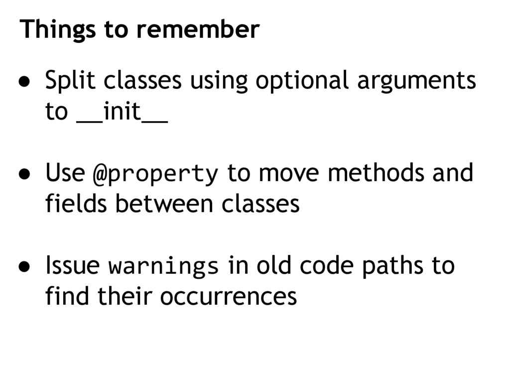 ● Split classes using optional arguments to __i...
