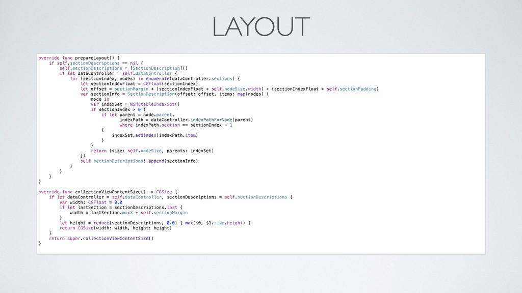 LAYOUT override func prepareLayout() { if self....