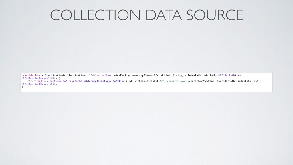 COLLECTION DATA SOURCE override func collection...