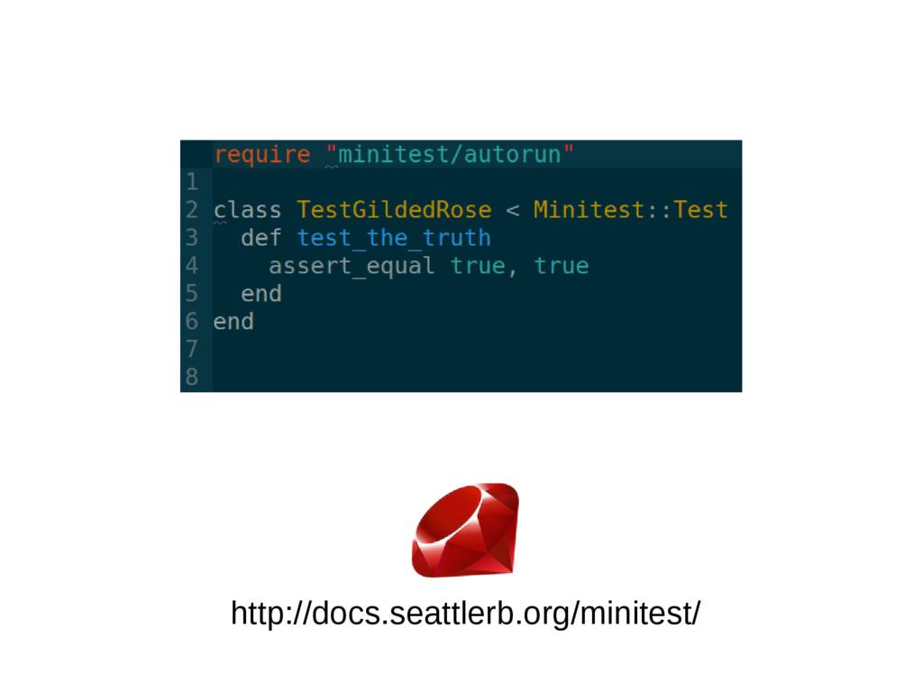 http://docs.seattlerb.org/minitest/