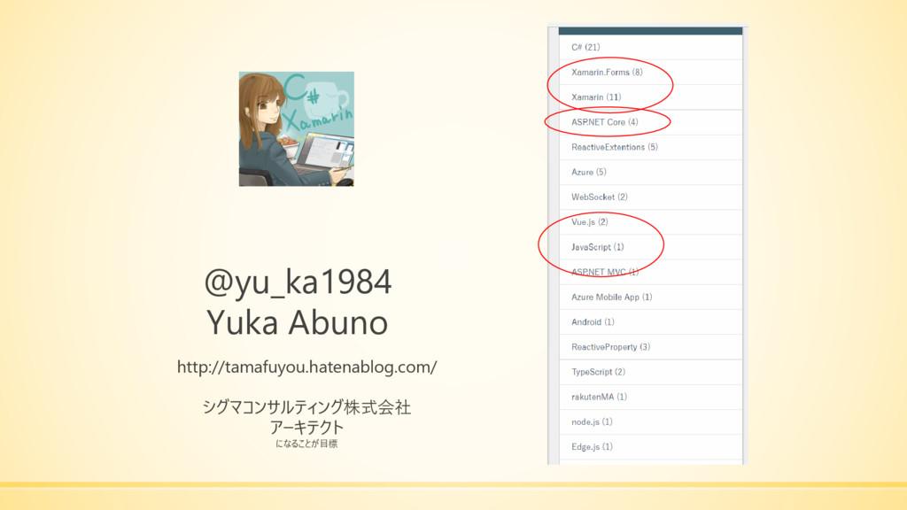 @yu_ka1984 Yuka Abuno http://tamafuyou.hatenabl...