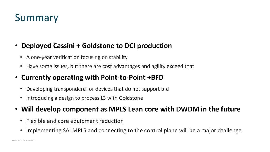 • Deployed Cassini + Goldstone to DCI productio...