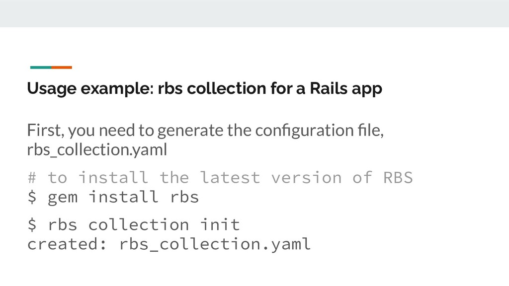 Usage example: rbs collection for a Rails app F...